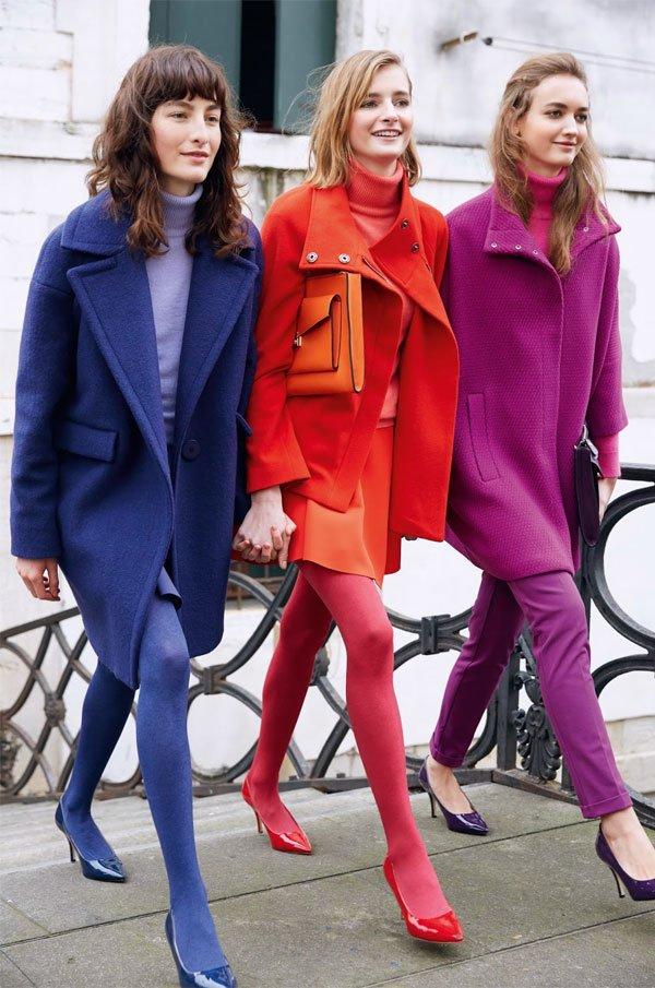 it girl - look-azul-look-vermelho-look-violeta - monocromático - inverno - street style