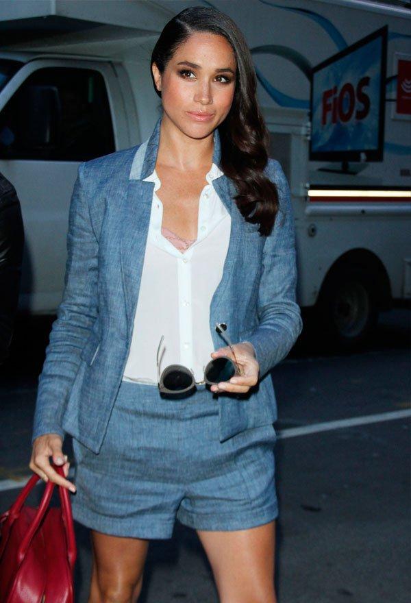 Meghan Markle - camisa-blazer-short-alfaiataria - alfaiataria - verão - street style