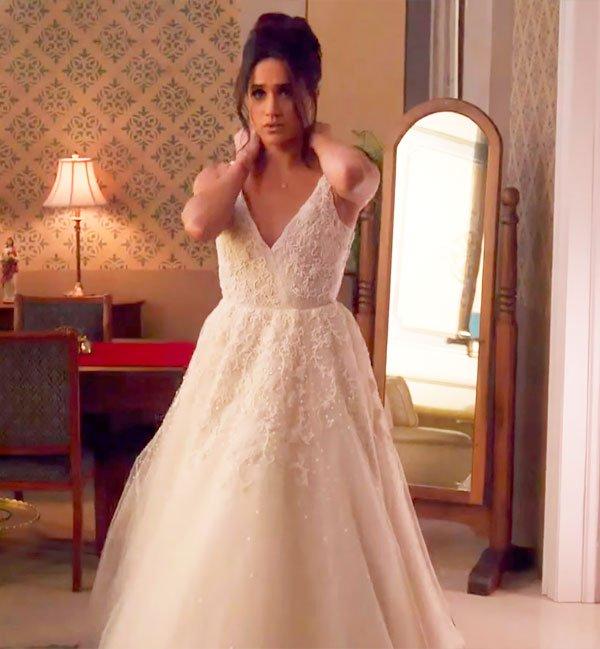 Meghan Markle em cena de Suits - vestido de noiva - vestido de noiva - verão - Suits