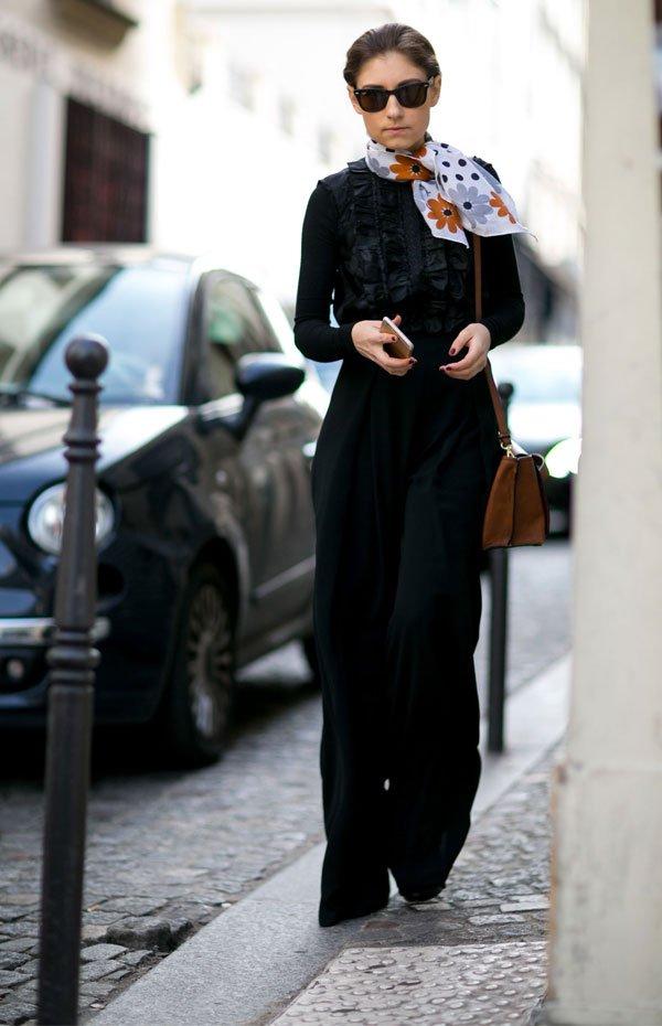it girl - pantalona-blusa-preta-lenco - preto - inverno - street style