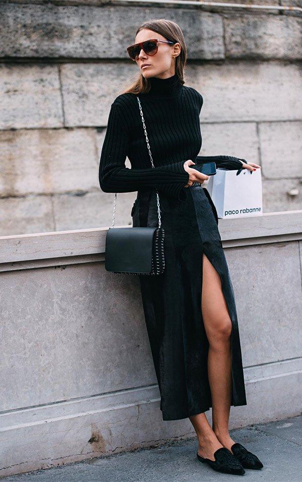 it girl - saia-fenda-gola-alta-mule - preto - inverno - street style