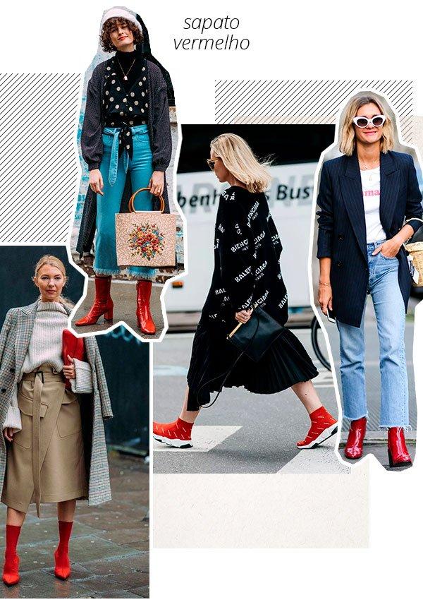 sapato - vermelho - looks - trend - now