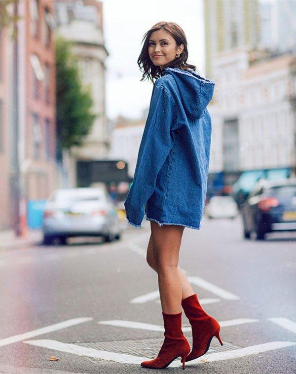 Sarah Ellen - vestido-jeans-oversized-bota-vermelha - bota-vermelha - meia estação - street style