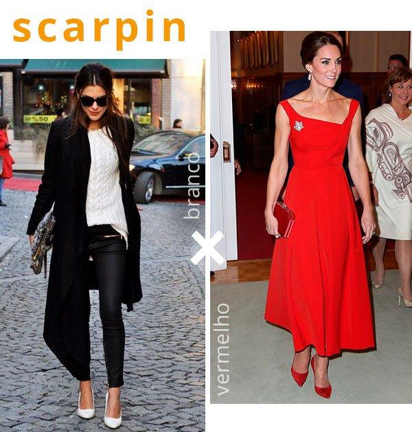 scarpin - branco - vermelho - looks - como usar