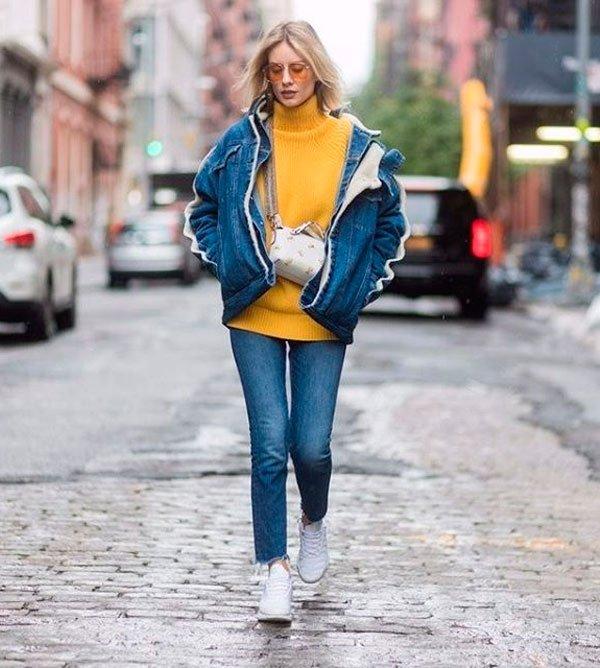 it-girl - turtleneck-jaqueta-jeans-calca - all denim - inverno - street style