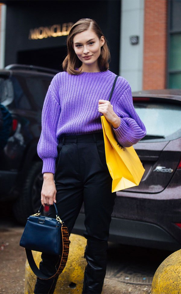 it girl - tricot-lilas-calca-preta - candy color - inverno - street style