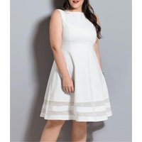 Vestido Godê Quintess Branco Plus Size