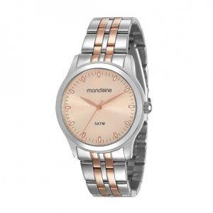 Relógio Feminino Rosé Gold E Prata Em Aço