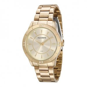 Relógio Feminino Dourado Cristais Aplicados
