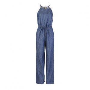 Macacão Jeans Feminino Em Algodão Com Decote Halter Neck