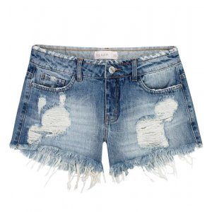 Shorts Jeans Destroyed Com Barra Desfiada
