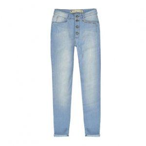 Calça Jeans Feminina Com Bordado Frontal E Barra Degrau