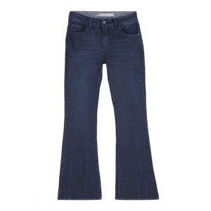 Calça Jeans Flare Feminina Em Algodão Com Lavação E Cintura Intermediária