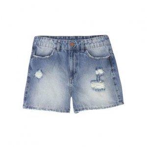 Shorts Jeans Com Efeitos De Desgaste