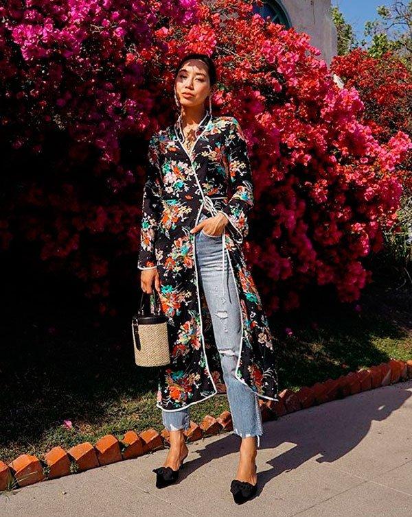 Aimee Song/Reprodução - kimono-calca-cintura-alta-salto - calça cintura alta - verão - street style