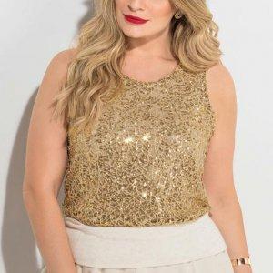 Blusa De Paetês Dourada Plus Size Quintess