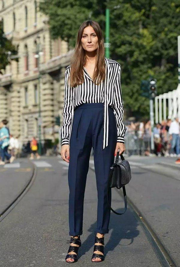 it girl - calca-azul-alfaiataria-camisa-listrada - calça de alfaiataria - inverno - street style