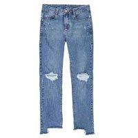 Calça Jeans Skinny Feminina Com Barra Assimétrica Desfiada