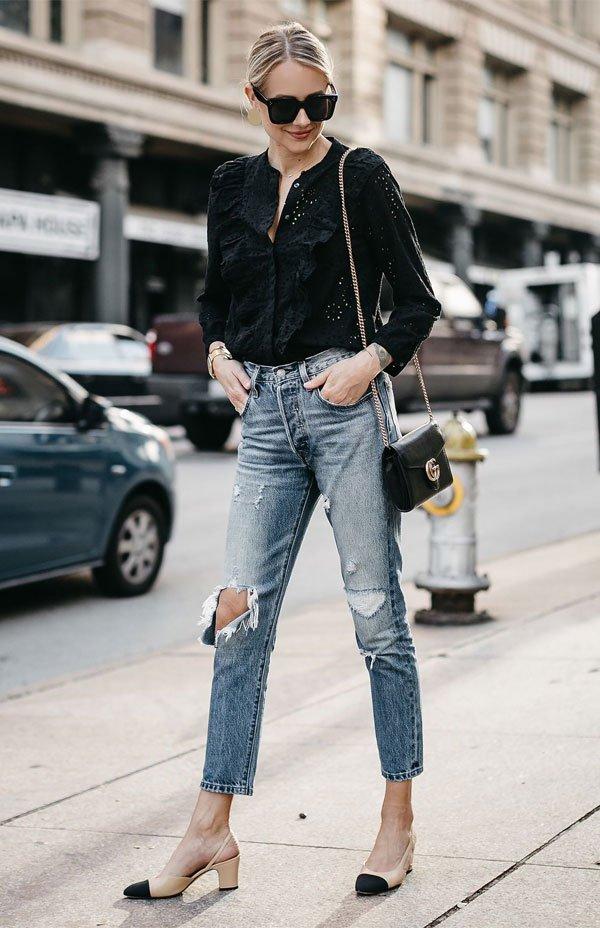 it girl - calca-jeans-sapato-bicolor-salto-mini - salto baixo - meia estação - street style