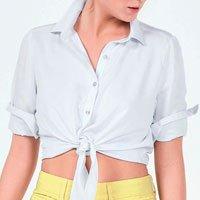 Camisa Em Tecido Acetinado Com Detalhe De Amarração Na Cintura