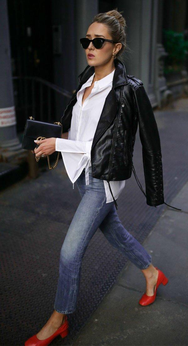 it girl - camisa-branca-jaqueta-jeans-calca-jeans - salto baixo - meia estação - street style