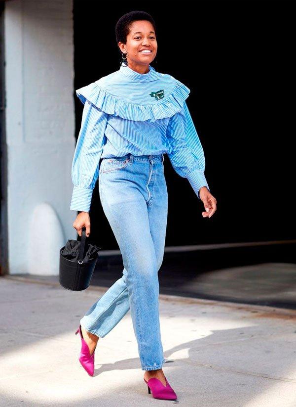 it-girl - camisa-calca-cintura-alta-salto - calça cintura alta - meia estação - street style