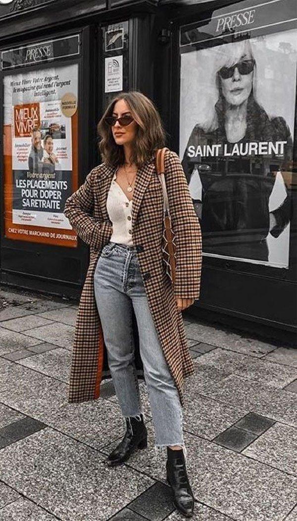 it-girl - casaco-xadrez-calça-jeans - casaco-xadrez - inverno - street style