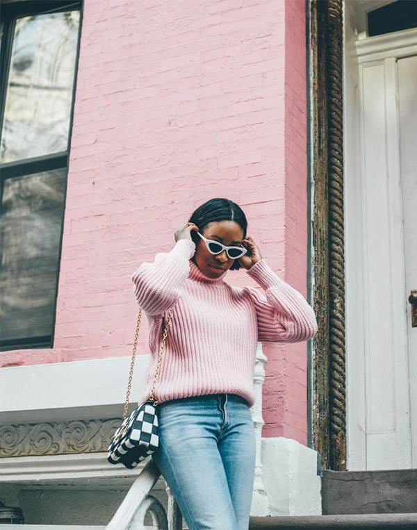 Chrissy Rutherford - tricot-jeans - tricot - inverno - street style