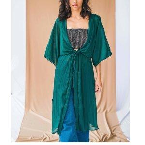 Kimono Longo Amarração Tamanho: U - Cor: Verde
