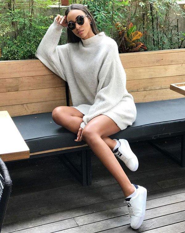 Hellen França - tricot-oversized - tricot - meia estação - street style