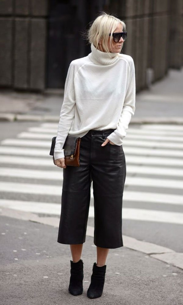 it-girl - pantacourt-couro-tricot-turtleneck - calça-couro - inverno - street style