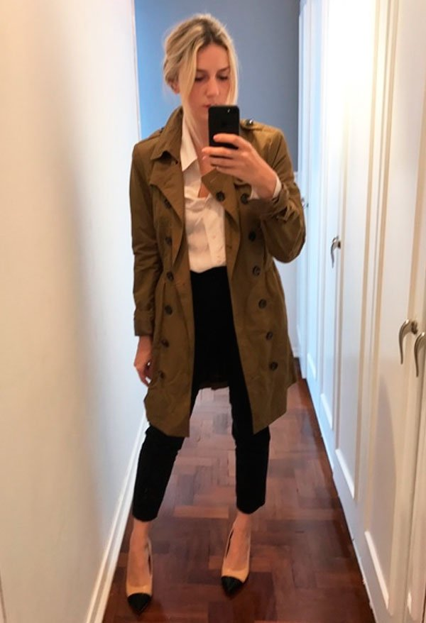 Karina Facci - camisa-branca-calca-alfaiataria-trench-coat - office look - meia estação - office look