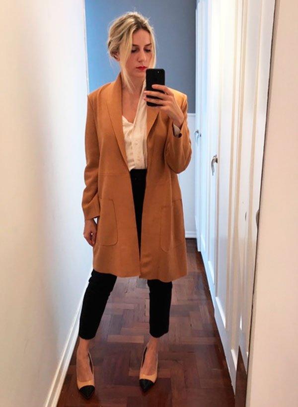 Karina Facci - camisa-calca-alfaiataria-casaco-flat - office look - meia estação - office look