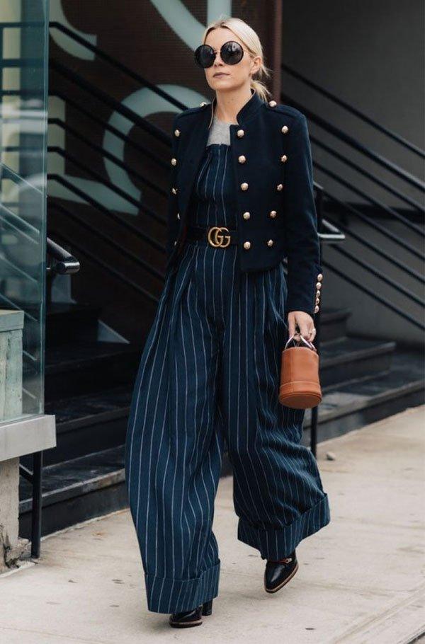 it girl - macacao-listrado-blazer-azul - macacão - meia estação - street style
