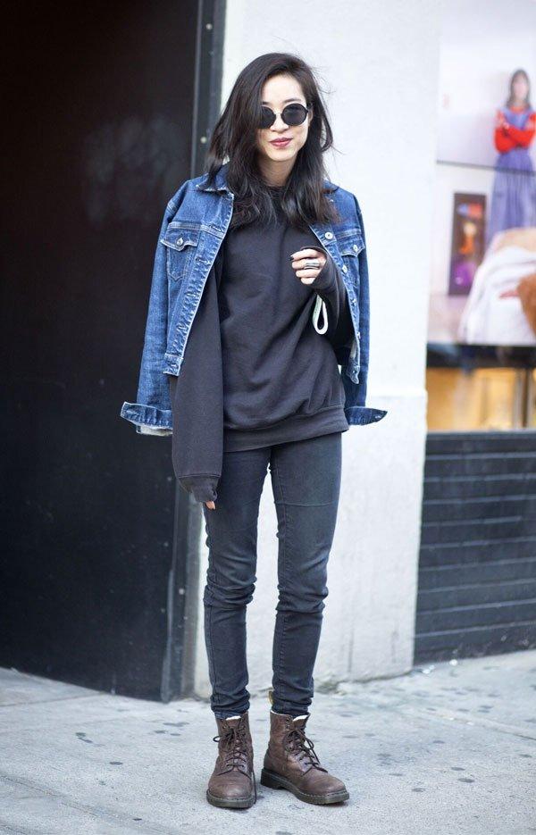 it girl - moletom-preto-jaqueta-jeans - moletom - inverno - street style