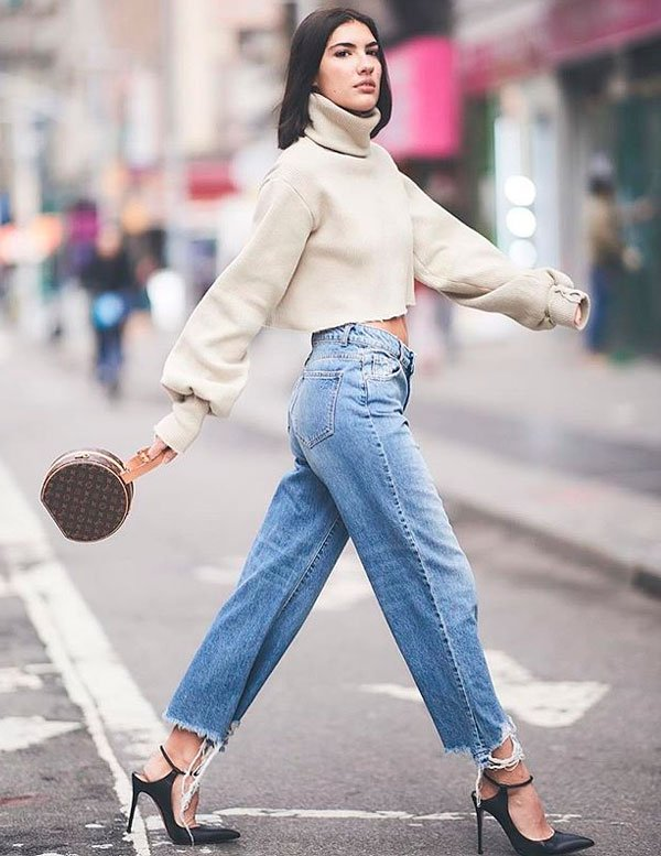 it-girl - tricot-cropped-gola-alta-calca-cintura-alta - calça cintura alta - inverno - street style