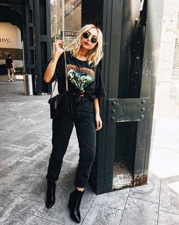 Nicole Alyse - t-shirt-vintage-calça-preta - t-shirt-vintage - meia estação - street style