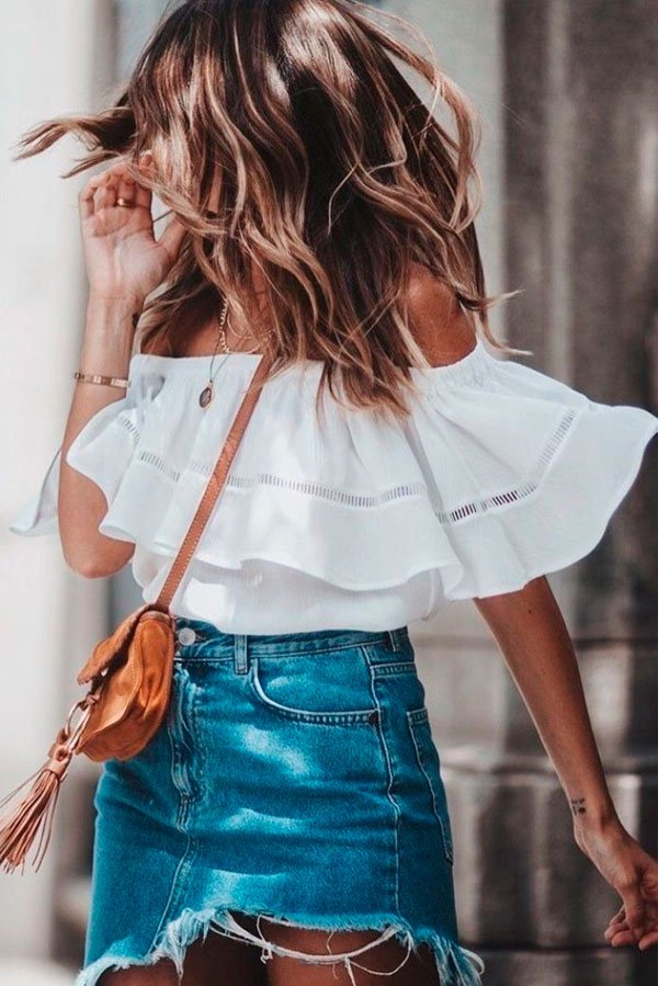 it-girl - blusa-off-shoulder-saia-jeans-destroyed - saia jeans destroyed - verão - street style