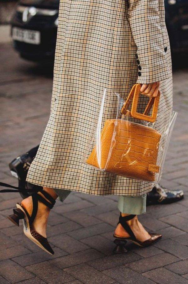 it girl - sapato-marrom-bolsa-transparente - salto baixo - meia estação - street style