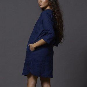 Vestido Túnica Linho Tamanho: P- Cor: Azul