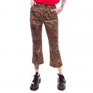 Calça Flare Cropped Leopard Print Tamanho: 34 - Cor: Marrom