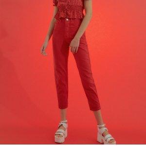 Calça Mom High Vermelha Tamanho: 32 - Cor: Vermelho
