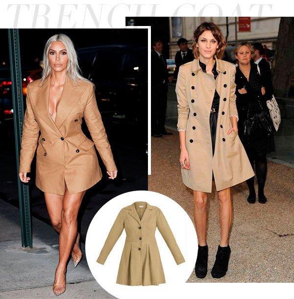trench - coat - kim kardashian - alexa chung - looks