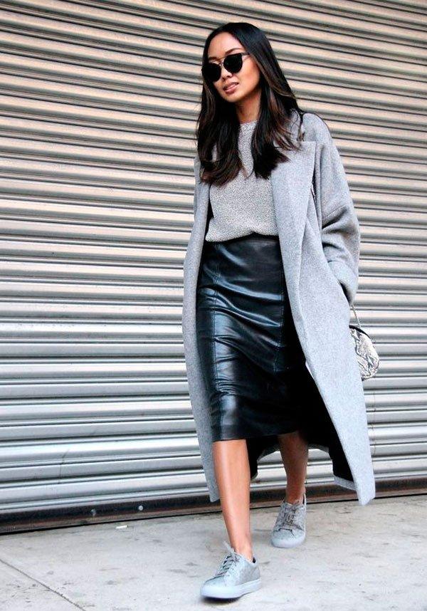 it-girl - tricot-maxi-casaco-saia-couro - saia couro - inverno - street style