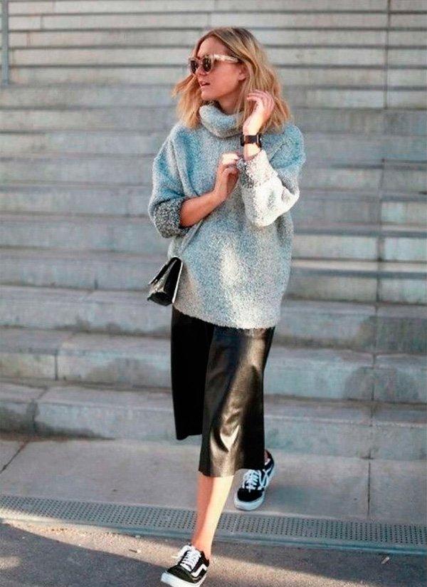 it-girl - tricot-saia-couro-look - saia couro - inverno - street style