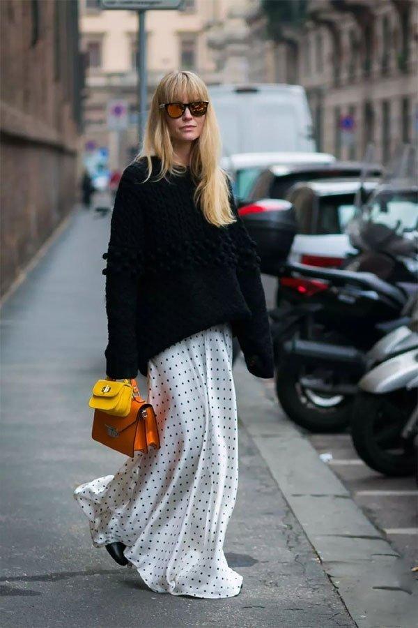 it-girl - tricot-vestido-longo-poá - tricot - meia estação - street style