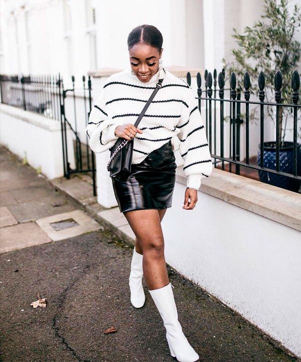 Uzy Nwachukwu - tricot-listras-saia-couro-bota-branca - saia couro - inverno - street style