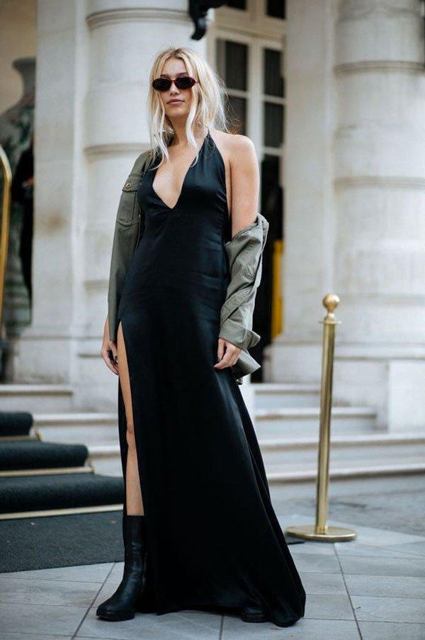 it-girl - vestido-preto-fenda - vestido-preto - meia estação - street style