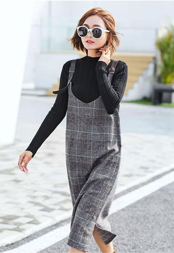 it-girl - tricot-preto-vestido-xadrez - vestido-xadrez - inverno - street style