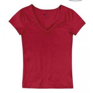 Blusa Feminina Básica Em Algodão E Elastano Com Decote V